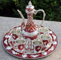 """$enCountryForm.capitalKeyWord Australia - Handwork Chinese 12"""" plate, silver color with red color metal wine  tea zinc alloy wine Decoration Silver Brass"""