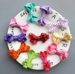Color Alligator Hair Clips Australia - 120pcs Girl mini polka dot Hair Bow clip with all wrapped ribbon security clips Ribbon Lined Alligator clip Hairpin FJ3232