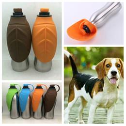 nuova bottiglia di acqua del cane dell'acciaio inossidabile 500Ml tazza portatile di viaggio della tazza di gatto della bottiglia di acqua delle tazze del cane Tazze di alimento per cani T2I5146