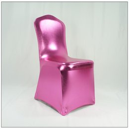 red blue chair Australia - New Metallic Gold Silver Blue Red Green Fushia Spandex Chair Cover High Quality Nobal Lycra Chair Cover Wedding Party Decoration