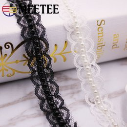 lace collar accessories NZ - Meetee 2cm Mesh Pearl Lace Trims Yarn Beaded Lace Ribbon DIY Clothing Collar Skirt Decoration Sewing Accessories RC026