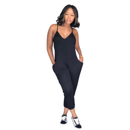Wholesale Sexy One Piece Loose Jumpsuit Backless Summer Capris Bandage Strap Romper Women Streetwear Overalls Club Wear