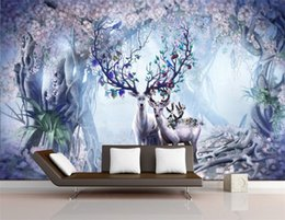 large flower backdrop UK - printed flower deer series 3D wallpaper living room backdrop bedroom 3D wallpaper murals for large custom 3D wallpaper