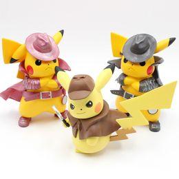 $enCountryForm.capitalKeyWord Australia - 4 Types Detective Pikachu Action Figures Cute Q Statue Pikachu Collection Models 13-15cm Cartoon Movie Doll Toys Figura Figurine Kids Gift