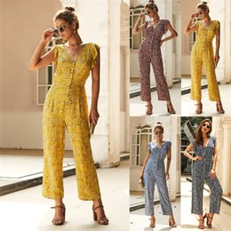 Womens Floral Print Trousers Australia - Fashion Casual Womens Summer Loose Jumpsuits New Ladies Button Floral Printed Rompers Short Sleeve Ruffles Trousers Playsuits