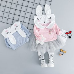 Infants Suits Australia - HYLKIDHUOSE 2019 Spring Baby Girls Clothing Sets Toddler Infant Clothes Suits Rabbit T Shirt TUTU Pants Children Kids Costume