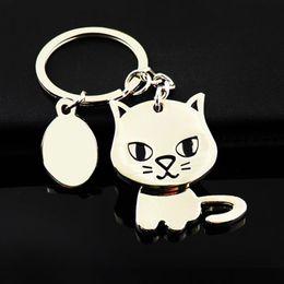 Valentine S Day Gift Keychains NZ - Cat Keychain Fashion Enamel Jewelry Key Ring For Car Key Chain Valentine 'S Day Gifts K83 Zinc Alloy