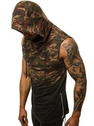 Discount men sleeveless hooded t shirt - 2019 summer men running vest camouflage 3D digital gradient print hooded sleeveless jogging gym T-shirt male