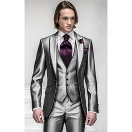 $enCountryForm.capitalKeyWord Australia - Custom Made Slim Fit Groom Tuxedos Silver Grey Best man Peak Lapel Groomsman Men Wedding Suits Bridegroom (Jacket+Pants+Tie+Vest) J312