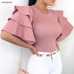 Wholesale plus size puff sleeve tops for sale – plus size Short Womens Sleeve Blouse Summer Tops Shirts Ladies Long Pitman Ruffle Polyester Blouse Plus Size Womens Office