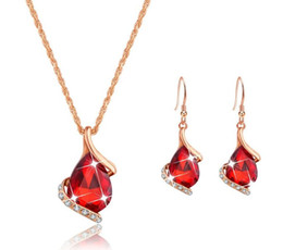 Earrings matching nEcklacEs online shopping - Colorful water drop necklace earrings set with matching accessories set
