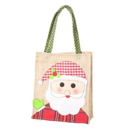 gift cloth tote bags wholesale Canada - Newest Linen Cloth Tote Bag Cartoon Embroidered Tote Handheld Gift Bags Christmas Gift