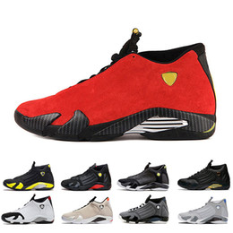 new style 07eee 68c1a Mens all ingrosso scarpe da basket 14s rosso Ferrari sabbia del deserto  punta nera indiglo tuono lupo grigio moda mens scarpe da ginnastica sneaker  ...