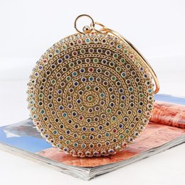 Discount round hand bag - JIULIN Colour Water Drill Fashionable Round Lady Handbag with Ring Insert Drill Hand Grab Bag Dinner Bag