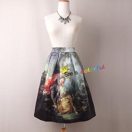$enCountryForm.capitalKeyWord Australia - Mary Virgin Printed Women Skirt Royal Vintage Fantasy Oil Painting High Waist Midi Skirt Circle Saia Femininas Sk031