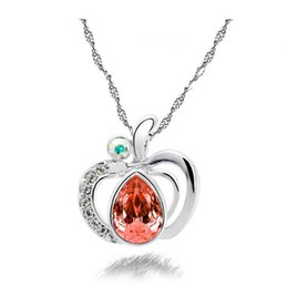 Necklaces Pendants Australia - Apple Pendants Necklaces For Women Fashion Jewelry Valentine's Day Gift Summer Crystal Necklace