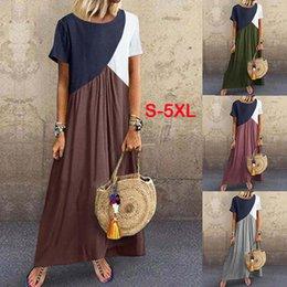 $enCountryForm.capitalKeyWord Australia - Women Large Size Cut Sew Long Dresses Fashion Loose Color Block Contrast Casual A-Line Irregular Dress For Ladies Summer S-5XL