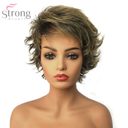$enCountryForm.capitalKeyWord NZ - Women's Synthetic Capless Wig Brown Blonde Mix Pixie Cut Short Layered Haircut Hair Natural Wigs