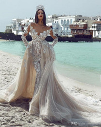 princess wedding dresses detachable skirt Canada - Champagne Long Sleeves Off Shoulder Mermaid Wedding Dresses With Detachable Train Vinatge Princess Lace Plus Szie Arabic Dubai Bridal Gown
