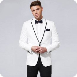 custom made slim fit tuxedo Australia - Custom Made White Men Suits for Wedding Black Notched Lapel Tuxedo Slim Fit Formal Blazer Jacket Pants 2Pieces Prom Party Best Man Costume