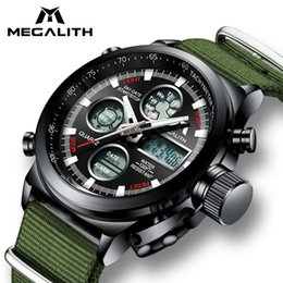 $enCountryForm.capitalKeyWord Australia - MEGALITH Quartz Digital Men Watch Sports Watches Nylon Strap Men's Watches Army 24 Hour Casual Materproof LED Clock
