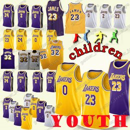 5a6e24409 YOUTH Los Angeles 23 LeBron James Laker 24 Kobe Jerseys Bryant 0 Kyle  Jerseys Kuzma 2 Lonzo Jerseys Ball Jersey RETRO Cheap sales