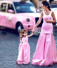 mother daughter evening dresses Australia - 2019 Pink Mermaid Prom Dresses Spaghetti Big Bow Sweep Train Long Special Occasion Dress Evening Party Gowns Mother And Daughter Dress