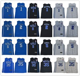 262872b01 NCAA Duke Blue Devils College 1 Zion Williamson 2 Cam Reddish 5 RJ Barrett  0 Tatum Irving Stitched Basketball Jersey
