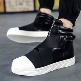 Discount chunky sneakers - Male Red White Spring Autumn Height Increase Ankle Botas Men Chunky Sneakers Hip Hop Shoes Men High Top Shoes Casual