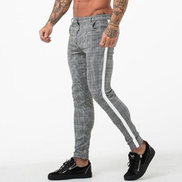 Wholesale workout tracking for sale – designer Casual Joggers Pant Men Fitness Tight Male Pants Bottom Tracksuit Streewear Plaid Sweatpants Workout Skinny Trousers Track Pants