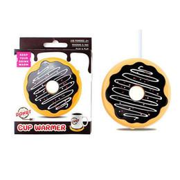 Usb Tea Cup Warmer Australia - Donut Heating Coasters Charge Heated Coffee Mug Cup Mats USB Warmer Heater Pad For Milk Tea Coffee Mug 2 Sets ePacket