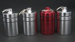 Aluminum wAterproof bottle online shopping - DHL Travel aluminum alloy Waterproof Pill Box Case keyring Key Chain Medicine Storage Organizer Bottle Holder Container KeyChain x48mm