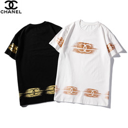 $enCountryForm.capitalKeyWord Australia - 2019 new hot men and women models summer round neck cotton two-color pattern hot stamping personality couple summer short-sleeved t-shirt