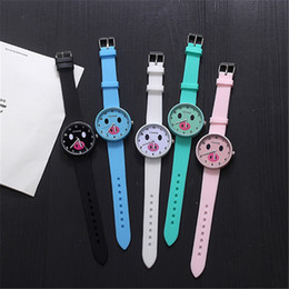 Candy Colored watChes online shopping - Women Watches Cute Pig Leisure Sports Cartoon Watch Candy Colored Jelly Silicone Quartz Wristwatch Girl Ladies Clock Gift