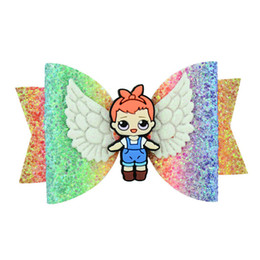 Hair Clip Princess Character Australia - New Cartoon hair bows girls hair clips glisten angel's wings sequin kids Barrettes princess baby BB clipshair accessories for girls A5639