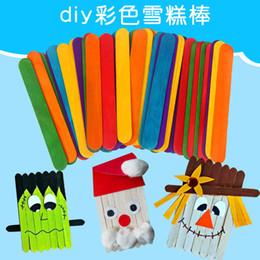 Ice Arts Australia - 50pcs pack Wooden Crafts Art For Children Diy Handmade House Ice Cream Stick Colorful Wooden Gift For Children Craft Toys