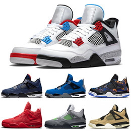 cool rubbers Canada - air JD 4 What The men basketball shoes 4s Loyal Blue Bred Cool Grey Neon 4 mens trainers Sports Sneakers