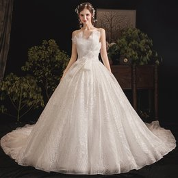 Image decoratIon online shopping - Floral Tulle Wedding Dress with Court Train Lace Applique Ball Gown Wedding Dress with Sash Decoration Wedding Gowns Dress Bridal