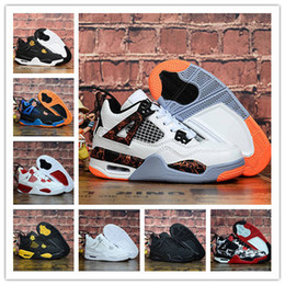 rubber cat shoes girls Australia - 2019 Kids Basketball Run Shoes Boy 4 Alternate Pure White Cement Royalty bred Fire Red Black Cat 4 Girls Boys oreo sneakers