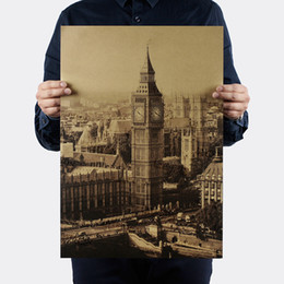 Chinese  London Famous Building Big Ben Nostalgic Vintage Kraft Paper Poster Decoration Painting Wall Stickers 36 X 51.5cm manufacturers