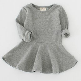 Wholesale Princess Girls Dress New Summer Solid Color Children Long Sleeve Baby Girl Party Princess Dresses for Kids Years