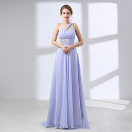 Lavender Long Prom Dresses Australia - 2019 Sexy Lavender Chiffon Bridesmaid Dresses Custom One Shoulder Sheer Neck Long Prom Dress Crystals Sashes A Line Women Formal Gowns