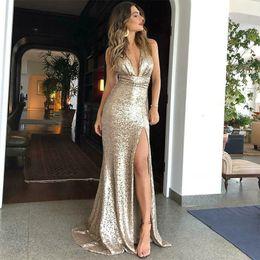 $enCountryForm.capitalKeyWord Australia - Sexy Gold Sequin Evening Dresses 2019 Sheath Evening Gowns With Deep V-Neck Criss-Cross Back Side Split Formal Dreses Evening Wear