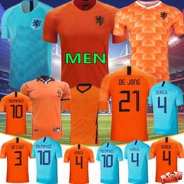 Kids world soccer jerseys online shopping - 2020 Thai DE JONG Netherlands Soccer Jerseys DE LIGT VIRGIL PROMES Retro Men Kids World Cup Football Shirts VAN DIJK VIRGIL