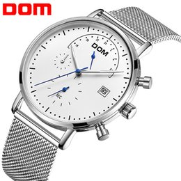 Binary Men Luxury Watches NZ - DOM Fashion Simple Mens Watches Top Brand Luxury Business Mesh belt Quartz Watch Men Clock Male Sports watch relogio masculino
