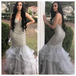 $enCountryForm.capitalKeyWord Australia - Luxurious Beaded Sequins 2019 Arabic Evening Dresses Sweetheart Mermaid Sexy Prom Dresses Charming Silver Formal Party Bridesmaid Gowns