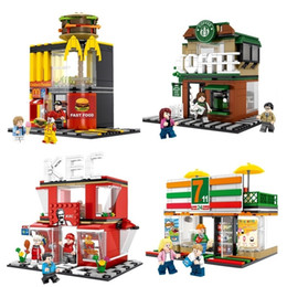 blocks sets Australia - 4 Sets Mini City Street Coffee Shop Hamburger Store Building Blocks Compatible City Diy Bricks Toys For Children GiftsMX190820