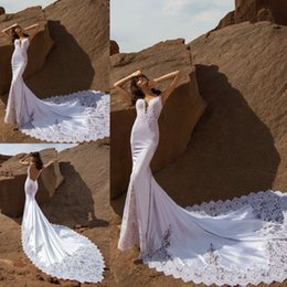 $enCountryForm.capitalKeyWord Australia - Stunning Mermaid Lace Wedding Dresses Spaghetti Neck Backless Wedding Gowns Sweep Train Sleeveless Pnina Tornai Spring Chiffon Bridal Dress