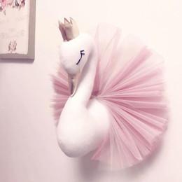 $enCountryForm.capitalKeyWord Australia - Cute 3D Golden Crown Swan Wall Art Hanging Girl Swan Doll Stuffed Toy Animal Head Wall Decor for Kids Room Birthday Wedding