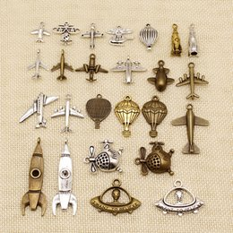 jewelry making supplies Australia - 40 Pieces Jewelry Making Supplies Airplane Rocket Helicopter Ufo Fighter Hot Air Balloon HJ125